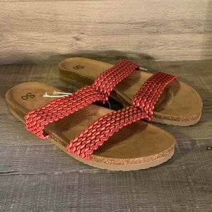 SO Jeanna Womens Strappy Sandals Red